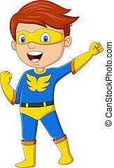 vrolijke , jongen, het poseren, spotprent, superhero