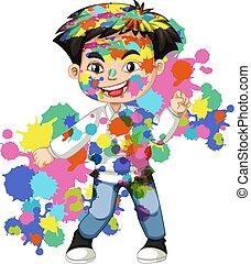 vrolijke , jongen, zijn, watercolor, lichaam, plonsen