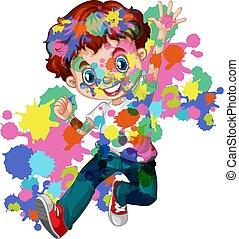 vrolijke , lichaam, zijn, jongen, gespetter, watercolor