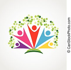 vrolijke , mensen, logo, boompje, teamwork