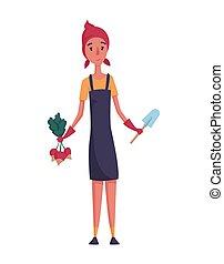 vrolijke , ontwerp, radijsje, hand, particulier, boerderij, farmer, vrouw, concept, landbouw, tuinman, schop, witte , achtergrond., karakter, illustration., of, man, spotprent, element