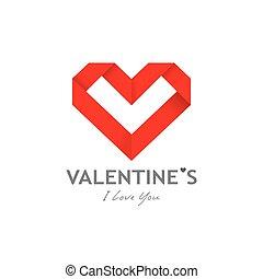 vrolijke , papier, ontwerp, origami, hart, achtergrond, dag, valentijn