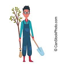 vrolijke , particulier, landbouw, illustration., ontwerp, spotprent, element, hand, boerderij, of, witte , boompje, man, farmer, concept, achtergrond., schop, tuinman, karakter