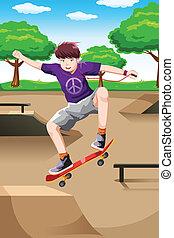 vrolijke , skateboard, spelend, geitje