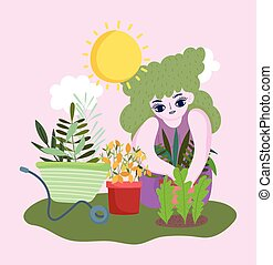 vrolijke , tuin, meisje, kruiwagen, bloemen, pot plant, bladeren
