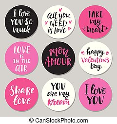 vrolijke , valentines, set, dag, typografie