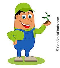 vrolijke , vector, tuinman