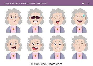 vrouw, avatar, senior, uitdrukkingen