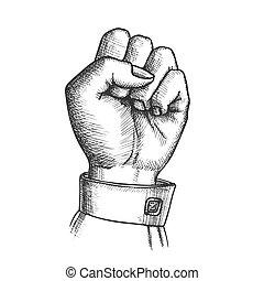 vrouw, dichtgeklemde, hand, vector, vinger, fist, gebaar