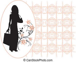 vrouw, elegant, silhouette, mooi