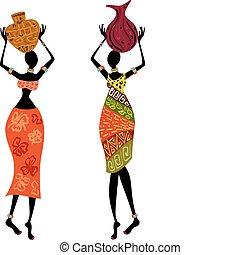 vrouw, ethnische , vaas
