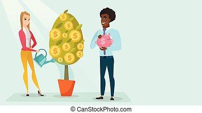 vrouw, geld, watering, jonge, boom., wite kaukasiër