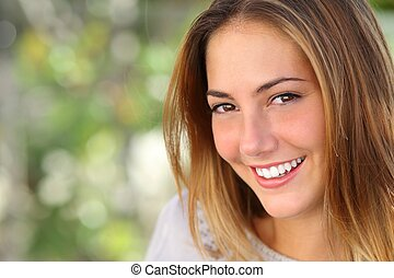 vrouw, glimlachen, whiten, perfect, mooi