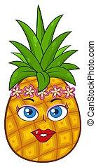 vrouw, guirlande, hawaiian, lei, krans, karakter, gezicht, fruit, bloem, ananas, spotprent, mascotte