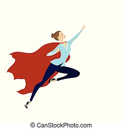 vrouw, held, vrijstaand, kaukasisch, vlieg, fantastisch, witte