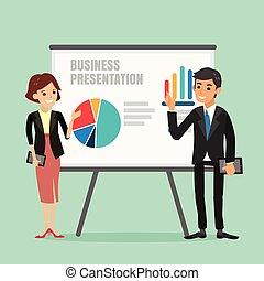 vrouw, illustratie, plank, vervaardiging, voorkant, zakenman, presentatie