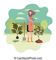 vrouw, karakter, landschap gardener, avatar