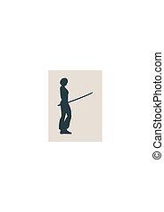 vrouw, kunst, karate, krijgshaftig, zwaard, silhouette