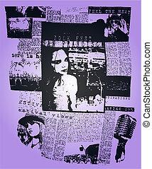 vrouw, kunst, poster, knallen, ontwerp, krant