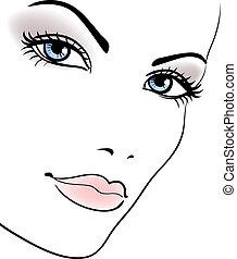 vrouw meisje, beauty, gezicht, verticaal, vector, mooi