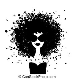 vrouw, mode, jouw, verticaal, ontwerp