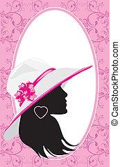 vrouw, mode, kaart, hat.