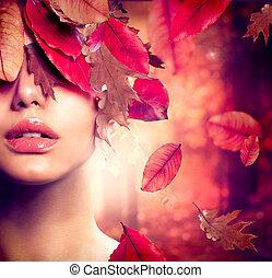 vrouw, mode, portrait., herfst, herfst