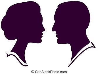 vrouw, paar, gezicht, profiel, vector, vrouwlijk, mannelijke , man