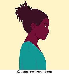 vrouw, profiel, verticaal, afrikaan