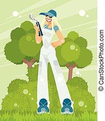 vrouw, pruner, tuinman