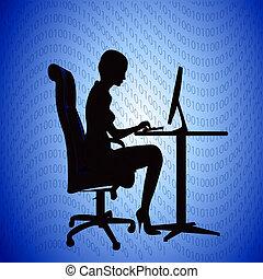 vrouw, secretaresse, computer, afdrukken, silhouette