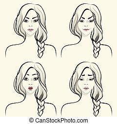 vrouw, set, gezichts, emoties