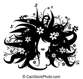 vrouw, silhouette, hairstyle, ontwerp, floral, jouw