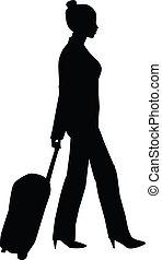 vrouw, silhouette, het reizen