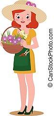 vrouw, tuinman