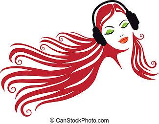 vrouw, vector, headphones