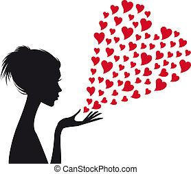 vrouw, vector, rood, hartjes