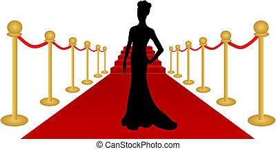 vrouw, vector, silhouette, rood tapijt