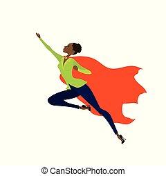 vrouw, vlieg, amercan, held, afrikaan, fantastisch