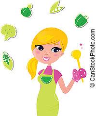 vrouw, voedingsmiddelen, vrijstaand, -, het bereiden, groene, gezonde , het koken, v, witte