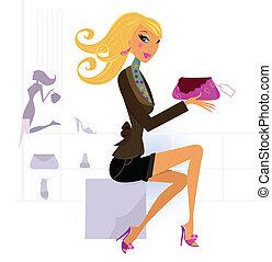 vrouw winkelen, vrolijke , mall, zak, blonde , mooi