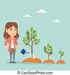 vrouw zaak, bomen., watering, jonge, kaukasisch