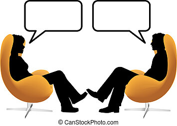 vrouw, zetten, stoelen, paar, ei, praatje, man
