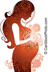 vrouw, zwangere , silhouette