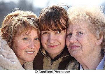 vrouwen, generaties, verticaal, een, gezin, drie