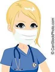 vrouwlijk, medisch, verpleegkundige, masker