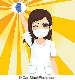 vrouwlijk, op, fist, verpleegkundige