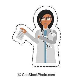 vrouwtje arts, stethoscope, holdingsdocument, spotprent