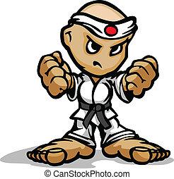 vuisten, kunsten, vechter, beeld, gezicht, karate, krijgshaftig, vector, vastberaden, spotprent, mascotte