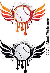 vuur, vleugels, vector, honkbal